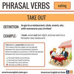 Phrasal Verbs: Take out English Grammar Book Pdf, English Idioms, English Language Learning, English Writing, English Study, English Class, English Vocabulary, Teaching English, Learn English