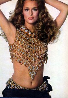 Lauren Hutton in a jeweled crop top