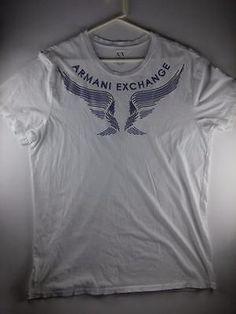 A/X ARMANI EXCHANGE T-SHIRT MENS XXL 100% COTTON  WHITE GREY/BLUE WINGS CREW N.
