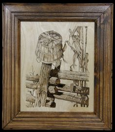 pyrographyandsuch | It's Fall done on birch plywood in a home made frame made from ...