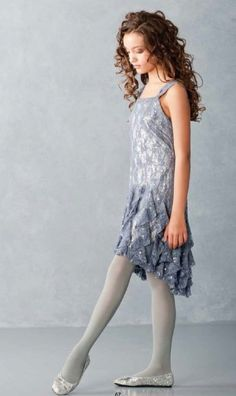 Tween Silver Lace Holiday Dress