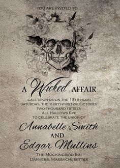 Items similar to Wicked / Halloween / Horror / Gothic Wedding Invitation DIY Printable on Etsy Gothic Wedding Invitations, Diy Invitations, Wedding Themes, Wedding Venues, Wedding Dresses, Invitation Ideas, Invitation Templates, Wedding Vows, Invitation Design