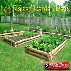 - 35 Fascinating, Easy-to-Do and Unique DIY Raised Garden Bed Ideas You can be as creative as you want to be when it comes to designing raised garden beds. You can see how creatively logs have been used to do so. Cedar Raised Garden Beds, Raised Vegetable Gardens, Vegetable Garden Design, Raised Beds, Vegetable Gardening, Gardening Books, Gardening Tips, Cedar Fence, Container Gardening