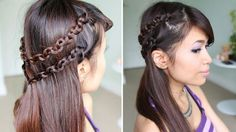 half+updo+with+double+chain+braid