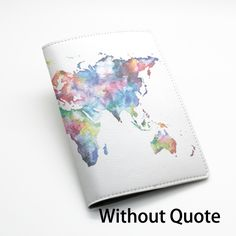 PU Leather Passport Holder Case Cover Travel Wallet -- Colorful World map design, Keep calm and travel on, or custom quote text (L69) - Thumbnail 4
