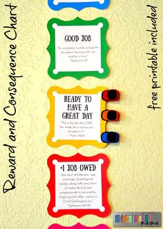 Reward and Consequence Behavior Chart for Home - Free Printable with Scripture and Without Scripture