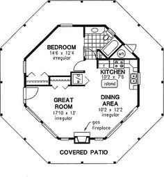 Octagonal house with full wrap around porch! This would be awesome for our house on my mom and dads property. Would look like a gazebo.