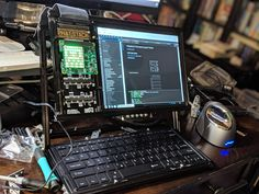 I'm sure that some artists over here at r/Cyberpunk will be able to draw inspiration from this real life example which is a raspberry-pi computer. Very cyberpunk indeed. Computer Setup, Computer Technology, Computer Science, Computer Keyboard, Raspberry Pi Computer, Diy Electronics, Electronics Projects, Hacker Laptop, Science Stations