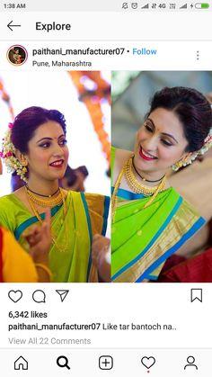 Marathi Saree, Marathi Bride, Marathi Wedding, Saree Wedding, Wedding Bride, Indian Hairstyles, Bride Hairstyles, Nauvari Saree, Long Hair Wedding Styles