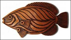 Whimsical Wildlife Wall Art | Relief stylized Angel Fish wall woodcarving.