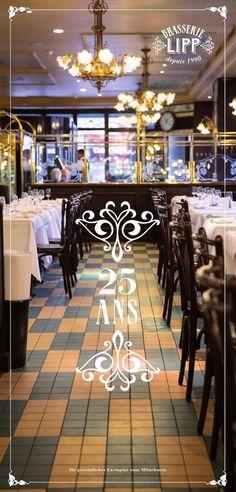 Die französische Brasserie Lipp aus Paris mitten in Zürich Zermatt, Seafood Place, Paris, Madness, Restaurants, Table Decorations, Gingham, Oysters, Gourmet Foods