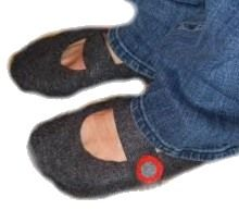 Mary Jane Felt Slippers - I'm going to try this with felted wool from a thrift store sweater