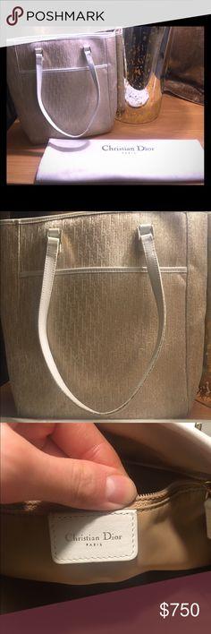 Rare Christian Dior Vintage Tote Bag Gold and Cream Signature Dior Canvas Medium Size Tote Christian Dior Bags Totes