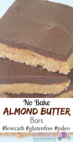 No Bake Almond Butter Bars #lowcarb #glutenfree #paleo