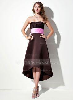 Bridesmaid Dresses - $86.99 - Empire Sweetheart Asymmetrical Satin Bridesmaid Dress With Ruffle Sash (007001900) http://jenjenhouse.com/Empire-Sweetheart-Asymmetrical-Satin-Bridesmaid-Dress-With-Ruffle-Sash-007001900-g1900