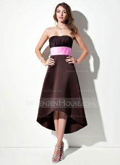 Bridesmaid Dresses - $86.99 - Empire Sweetheart Asymmetrical Satin Bridesmaid Dress With Ruffle Sash (007001900) http://jenjenhouse.com/Empire-Sweetheart-Asymmetrical-Satin-Bridesmaid-Dress-With-Ruffle-Sash-007001900-g1900