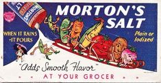 VINTAGE Advertising Blotter Morton's Salt Fantasy Vegetable People Sledding