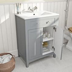 The Bath Co. Camberley satin grey vanity unit with basin Sink Vanity Unit, Bathroom Sink Cabinets, Bathroom Vanity Units, Bathroom Vanities, Family Bathroom, Downstairs Bathroom, Small Bathroom, Bathroom Ideas, Cloakroom Ideas
