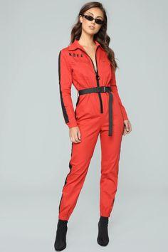 Out Of This Nova Jumpsuit - Red – Fashion Nova Kpop Fashion Outfits, Red Fashion, Fashion Wear, Womens Fashion, Birmingham, Stylish Scrubs, Fashion Nova Jumpsuit, Satin Jumpsuit, Playsuit Romper