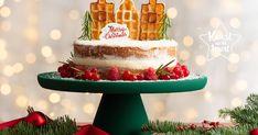Maak deze Kerst je eigen dorpje of stadje op je taart! Super simpel  recept met groots effect! De huisjes maak je van wafels die je met prikkers in de biscuiittaart steekt.