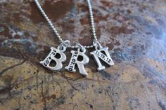 Initial Letter Necklace Sterling Silver With Birth by timbrodamore, $56.00