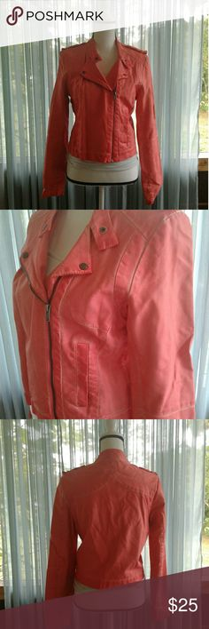 "Peach ana moto jacket Women's gently pre loved peach super soft faux leather ana moto jacket size Medium. Front zip with 2 buttons side pockets. Button  Shoulder straps. Couple of tiny blemishes, please see pictures for more details. Measurements SS 16"" Chest 19"" waist 17"" length 21"" sleeve 25"". Thanks for looking!! Bundle to save!! ana Jackets & Coats"
