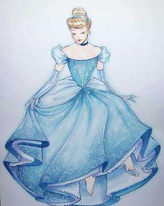 Disney Fan Art, Disney Love, Disney Magic, Cinderella Drawing, Disney Princess Cinderella, Vintage Disney Princess, Disney Belle, Wedding Dress Cinderella, Croquis Disney