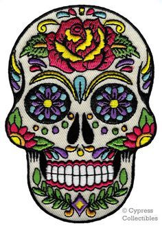 SUGAR SKULL PATCH Embroidered Iron-On Dia De Los by SouvenirPatch