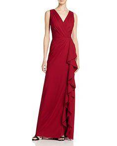 ea40cb1c87c5 Aidan Mattox Chiffon V-Neck Gown - 100% Bloomingdale s Exclusive Formal  Evening Dresses