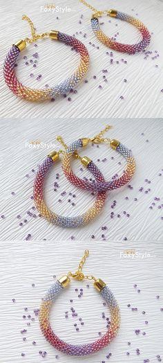 Beaded bracelet crochet bracelet seed bead bracelet beadwork bracelet rope bracelet lilac bracelet everyday bracelet modern bracelet gift
