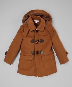 Isaac Mizrahi Tan Wool-Blend Toggle Coat - Toddler & Boys by Isaac Mizrahi #zulily #zulilyfinds