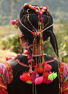Headgear of a Ha Nhi woman, Vietnam #diverse #culture #Vietnam #fashion #beauty #world