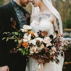 Moody Autumn Elopement - Autumn Bouquet / Tattooed Bride / Moody Bouquet - Photography by Wesley & Emma, Flowers by Old Frond Floral Co.
