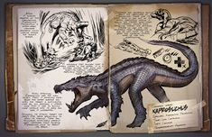 Dossier Kaprosuchus Dragon Gator : a large bulky alligator walk on 4's will lie down and blend in with the ground. 3 ft tall and 11 feet long