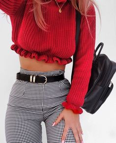 Red Ruffled Top. Plaid pants.