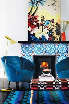 House & Garden Magazine UK // gorgeous Moroccan blue chairs and fireplace tiles