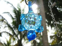 NecklaceBlue Lampwork Murano Glass Tortoise Animal Bead Pendants Black Hemp Necklace Cord Chain South Florida Style