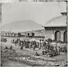 "1864. ""Chattanooga, Tenn. Confederate prisoners at railroad depot waiting to be sent north (click twice for great detail)"