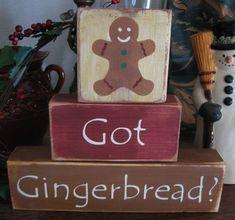 Primitive Shelf Blocks got Gingerbread Christmas Sign Wooden | eBay
