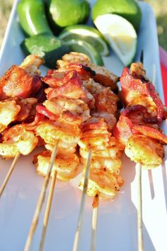Shrimp and Bacon Kabobs. Made these, were excellent. Added mushrooms and onions.
