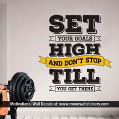 Set Your Goals - Bodybuilding - Fitness - Gym - Wall Quotes - Quotes Decals - Gyms - Wall Decals -Wall Stickers - Wall Art - Gift To view more Art that will look gorgeous on Your Walls Visit our Store: Wall Stickers Sports, Room Stickers, Gym Quotes Inspirational, Motivational, Gym Interior, Interior Design, Gym Decor, Office Decor, Wall Text