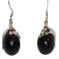 Cute Dolphin Sterling Silver on Black Ball Dangle Earrings