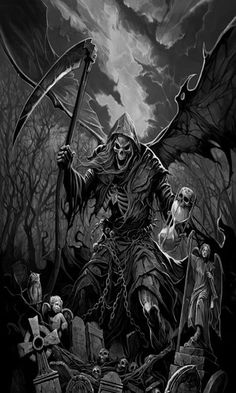Grim Reaper - Death you're a mother fucker. I hate you. Grim Reaper Art, Grim Reaper Tattoo, Don't Fear The Reaper, Grim Reaper Images, Dark Fantasy Art, Dark Art, Arte Obscura, Skull Artwork, Dark Angels