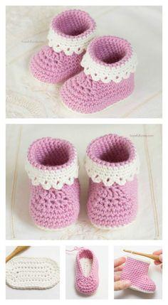 Senhora cor-de-rosa Baby Booties Teste padrão livre do Crochet