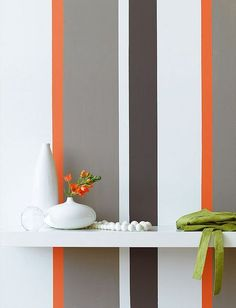 and orange striped wall orange, white, grey vertically striped wall I'm loving this idea for the accent wall in the sitting room!orange, white, grey vertically striped wall I'm loving this idea for the accent wall in the sitting room! Painting Stripes On Walls, Paint Stripes, Grey Paint, Wall Stripes, Striped Accent Walls, Vertical Striped Walls, Striped Painted Walls, Little Greene Paint Company, Stripped Wall