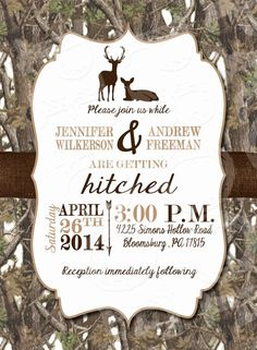 White Camo Deer Wedding Invitation and RSVP Card by MrsPrint