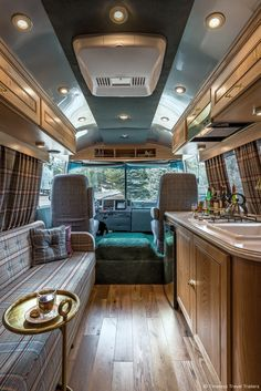 Huntsman Airstream Motorhome - Timeless Travel Trailers lovingly restored this first of its kind mobile tailoring studio to bring the bespoke Huntsman experience to cities across America. Interior Motorhome, Airstream Motorhome, Vintage Motorhome, Airstream Camping, Vintage Airstream, Vintage Trailers, Airstream Remodel, Vintage Campers, Glamping
