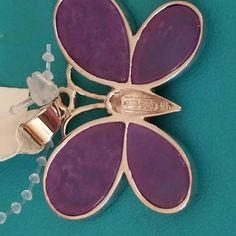 Sterling silver butterfly jade pendant Purple jade butterfly jade pendant. New with tage. Bought from HSN Jewelry Necklaces