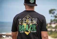Ezra Sitt Wearing the Bad Boy Equipe Brasil Shirt -- The Bad Boy Equipe Brasil T-Shirt is a homage to our Brazilian fight team, from Rickson and Renzo Gracie through Demian Maia and Wilson Reis. The front and back design features the Cristo Redentor statue in Rio de Janeiro.