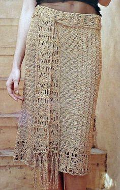 Cream crochet skirt - http://www.ycomo.com/como-tejer-una-falda-a-crochet-paso-a-paso.html